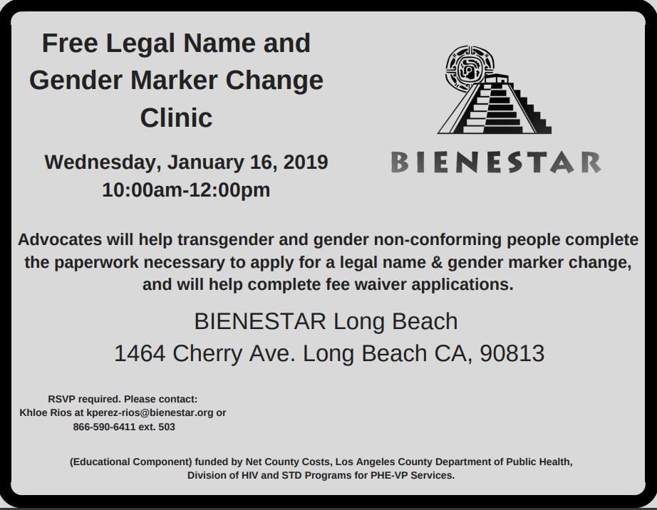 Free Legal Name Amp Gender Marker Change Clinicbienestar